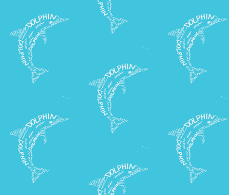 Dolphin Calligram fabric by blue_jacaranda on Spoonflower - custom fabric