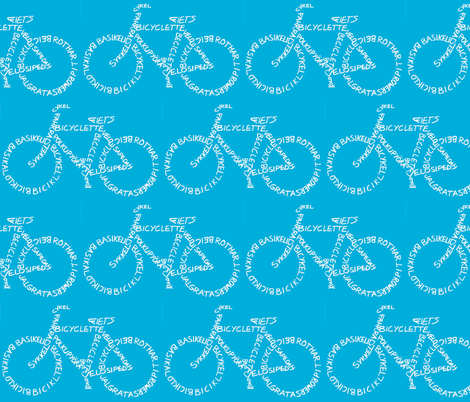 Bicycle Calligram fabric by blue_jacaranda on Spoonflower - custom fabric