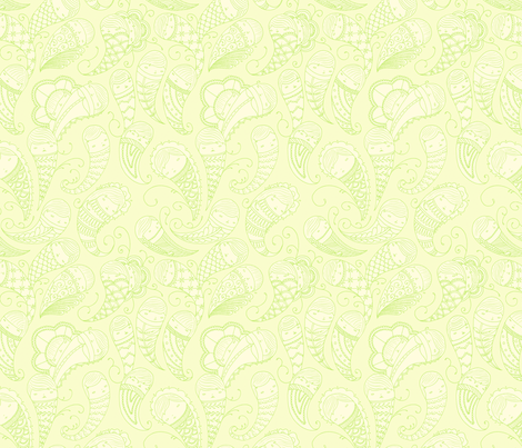 Ghostly Paisley in Ectoplasm fabric by beeskneesindustries on Spoonflower - custom fabric