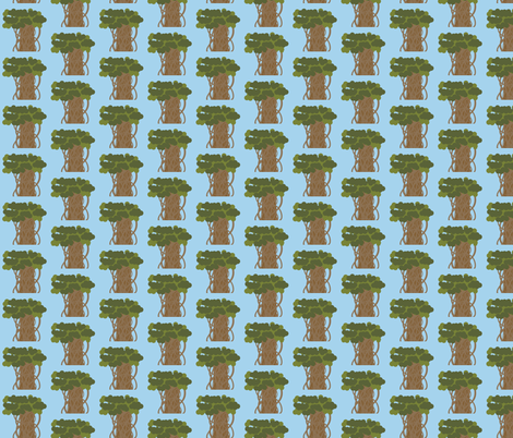 Banyan Tree on Light Blue fabric by mayabella on Spoonflower - custom fabric