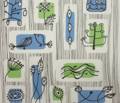 fifties graphic nature fabric