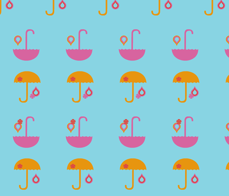 sunnyumbrellas_blue fabric by snork on Spoonflower - custom fabric