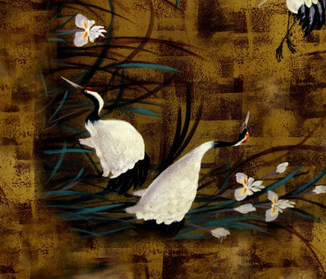 Orchids and cranes fabric by paragonstudios on Spoonflower - custom fabric