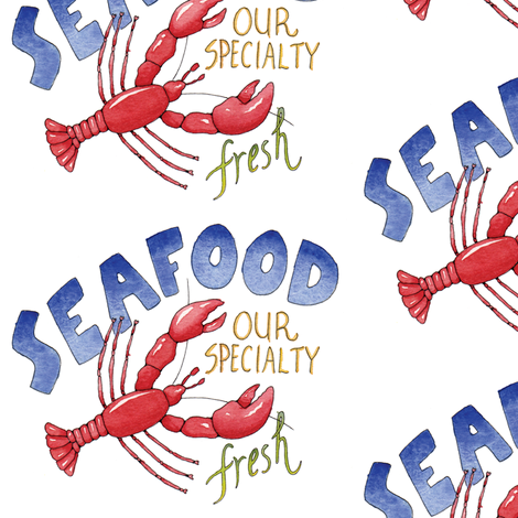Fresh Seafood   fabric by pattysloniger on Spoonflower - custom fabric