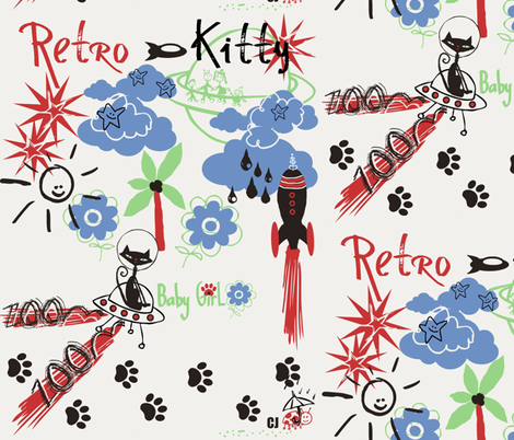 Retro Kitty / Plain fabric by paragonstudios on Spoonflower - custom fabric