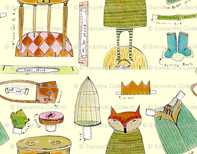 mr. fox paper doll fabric