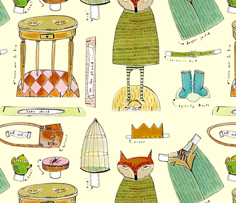 mr. fox paper doll fabric fabric by mummysam on Spoonflower - custom fabric