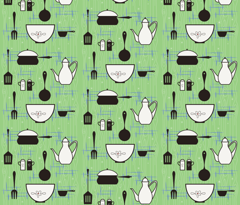 50's Kitsch-en  fabric by cynthiafrenette on Spoonflower - custom fabric