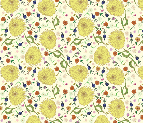 fairy tale flowers creme  fabric by babysisterrae on Spoonflower - custom fabric