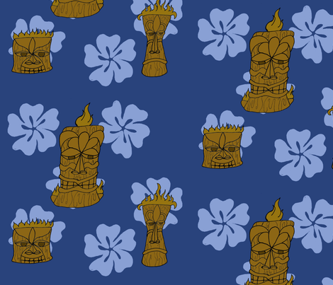 BlueTiki fabric by bemusedart on Spoonflower - custom fabric