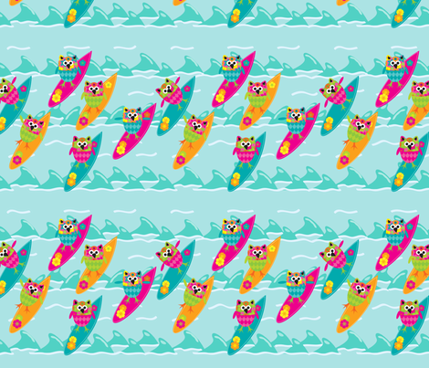 Tiki_Owls_Go_Surfing fabric by deesignor on Spoonflower - custom fabric