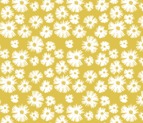 Paper Daisy - Provence Gold fabric by kristopherk on Spoonflower - custom fabric