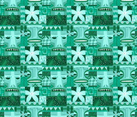 Tiki Repeat fabric by smalltalk on Spoonflower - custom fabric