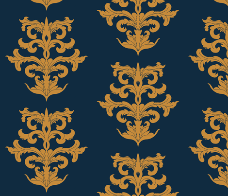 MedievalBlueGold fabric by bemusedart on Spoonflower - custom fabric