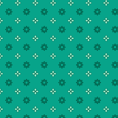 Starry Petals - Mint Green fabric by inscribed_here on Spoonflower - custom fabric