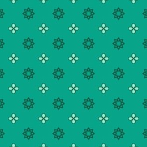 Starry Petals - Mint Green