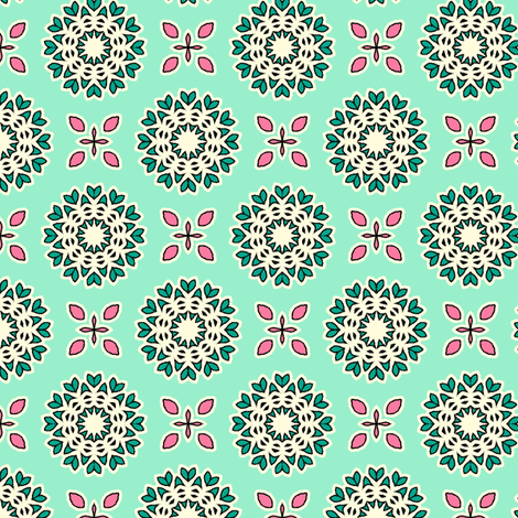 Full Bloom - Mint Green fabric by inscribed_here on Spoonflower - custom fabric