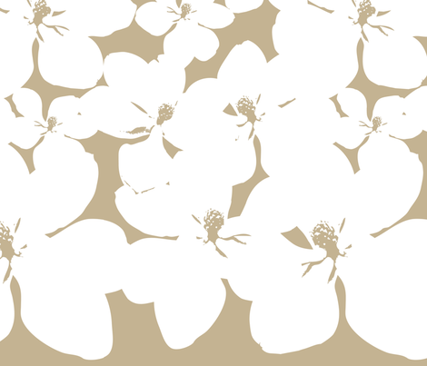 Magnolia Little Gem - Creme Caramel - 2 Yard Panel fabric by kristopherk on Spoonflower - custom fabric
