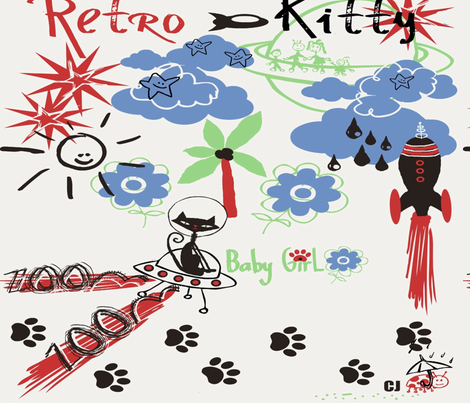 Retro Kitty / FAT 1/4 fabric by paragonstudios on Spoonflower - custom fabric