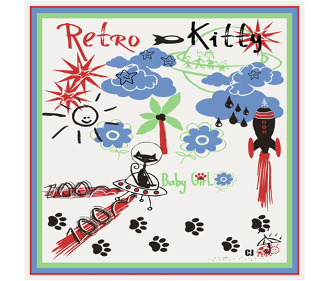 Retro Kitty / SCARF fabric by paragonstudios on Spoonflower - custom fabric