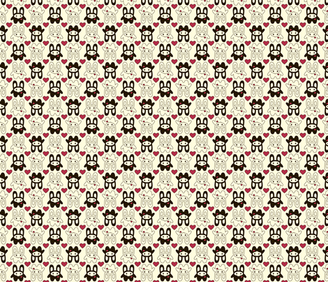 Bunny Squee Fabric - Hearts fabric by voodoorabbit on Spoonflower - custom fabric