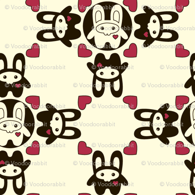 Bunny Squee Fabric - Diamond Hearts