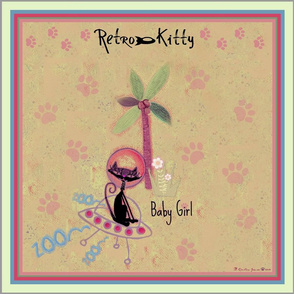 "Retro Kitty 18"" Paws Scarf"