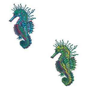 Seahorse White Blue/Green rounds
