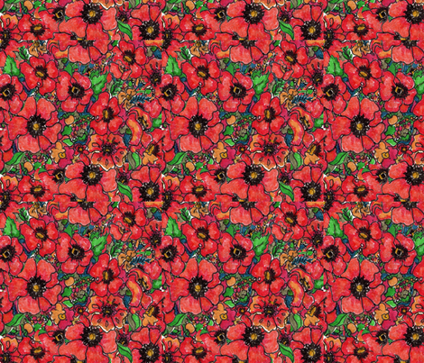 Poppy Field fabric by snazzyfrogs on Spoonflower - custom fabric