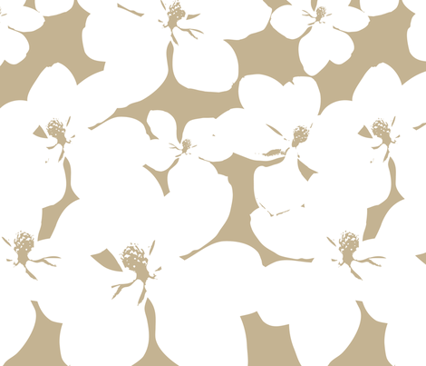 Magnolia Little Gem - Creme Caramel - 3 Yard Panel fabric by kristopherk on Spoonflower - custom fabric