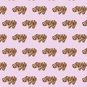 Animal Printed Hippo - Pink Bobby Pins