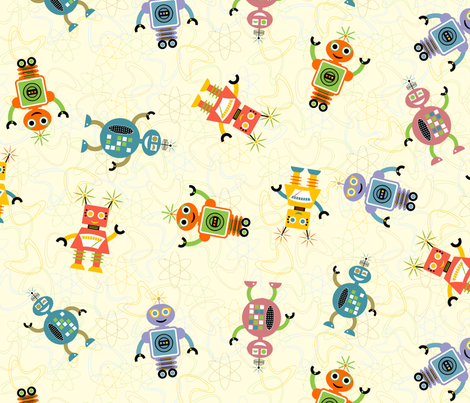 Cute_Retro_Robots fabric by jumping_monkeys on Spoonflower - custom fabric