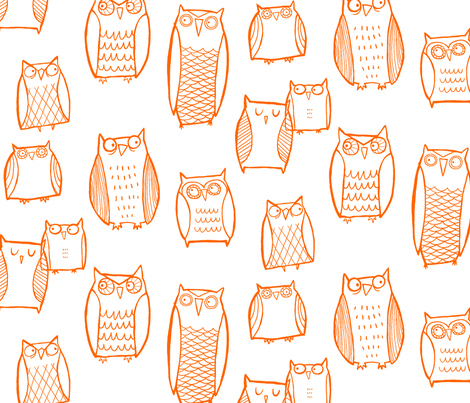 Night Owl (white) fabric by leanne on Spoonflower - custom fabric