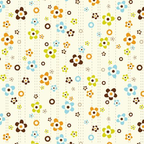Flower Shower Cream fabric by heatherdutton on Spoonflower - custom fabric
