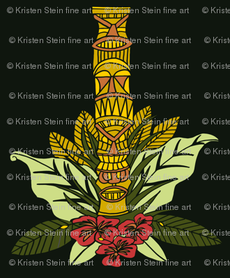 Tiki Totem and Flowers