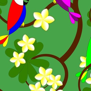 Hawaiian Parrots and Plumeria Tree