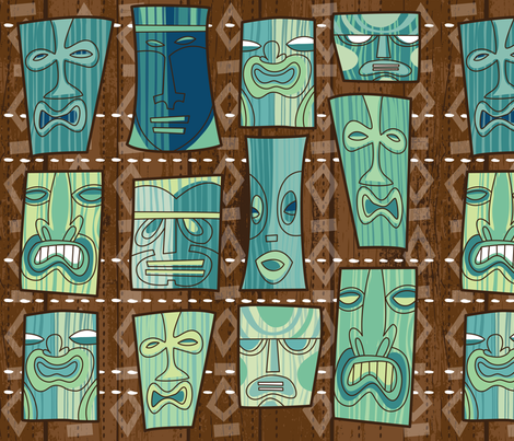 Tiki Freaks fabric by cynthiafrenette on Spoonflower - custom fabric