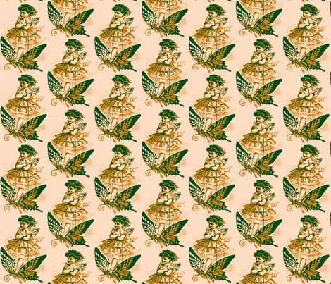 Butterfly Girl, Blue/Green-ch fabric by nalo_hopkinson on Spoonflower - custom fabric