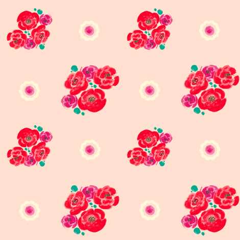 Poppies - Pink Pattern-teal/plum fabric by joybucket on Spoonflower - custom fabric