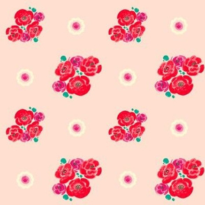 Poppies - Pink Pattern-teal/plum