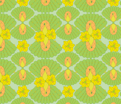 geometric peacocks fabric by sary on Spoonflower - custom fabric