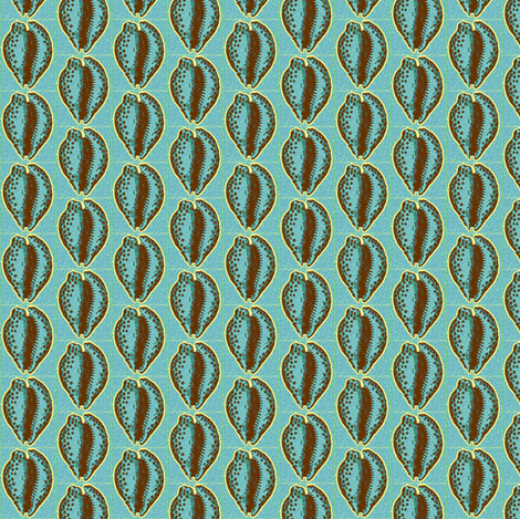 Cowrie, blue fabric by nalo_hopkinson on Spoonflower - custom fabric