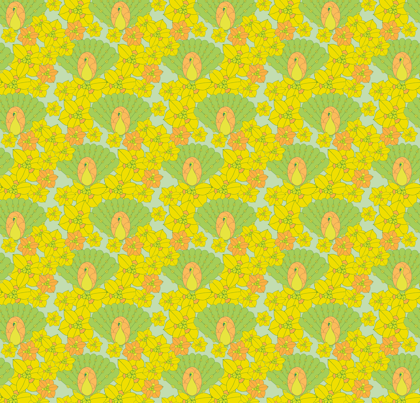 Green peacocks fabric by sary on Spoonflower - custom fabric