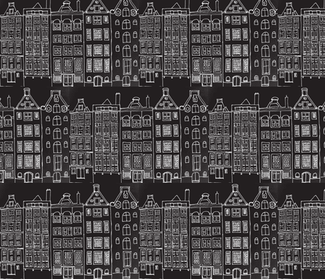 DutchHouses white on black fabric by blue_jacaranda on Spoonflower - custom fabric