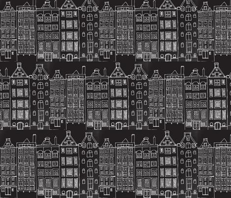 DutchHouses white on black fabric by blue_jacaranda on Spoonflower - custom fabric