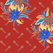 Indonesian Flowers on Red