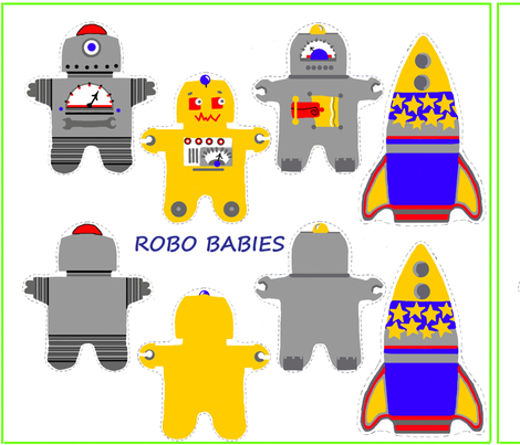 Robo Babies fabric by connielou on Spoonflower - custom fabric