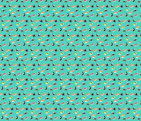 Sushi crazy pattern fabric by samtronika on Spoonflower - custom fabric