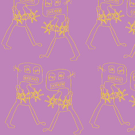 Destructo, yellow on purple fabric by nalo_hopkinson on Spoonflower - custom fabric
