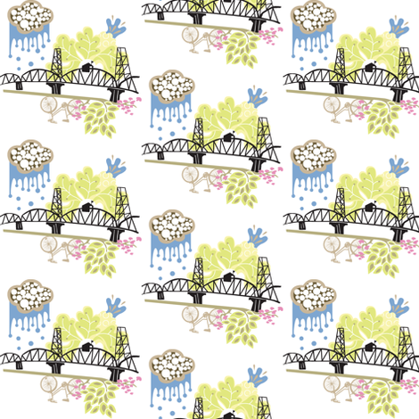 Hawthorne Bridge fabric by malien00 on Spoonflower - custom fabric